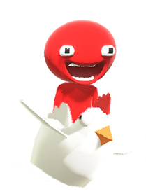 Red Goober flying a chicken