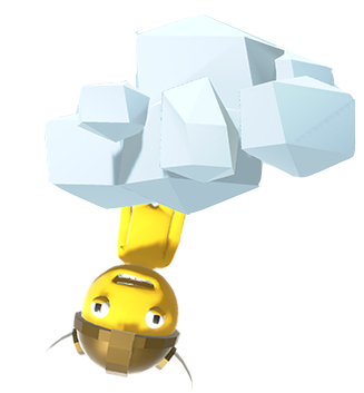 Yellow Goober hanging from a cloud